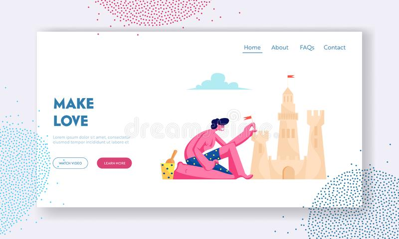 Summer Time Vacation Website Landing Page, Young Man in Swimsuit Having Leisure on Sandy Beach Building Sand Castle royalty free illustration