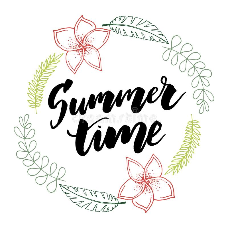Summer time vector banner design with white circle for text and colorful beach elements in white background. Vector illustration vector illustration