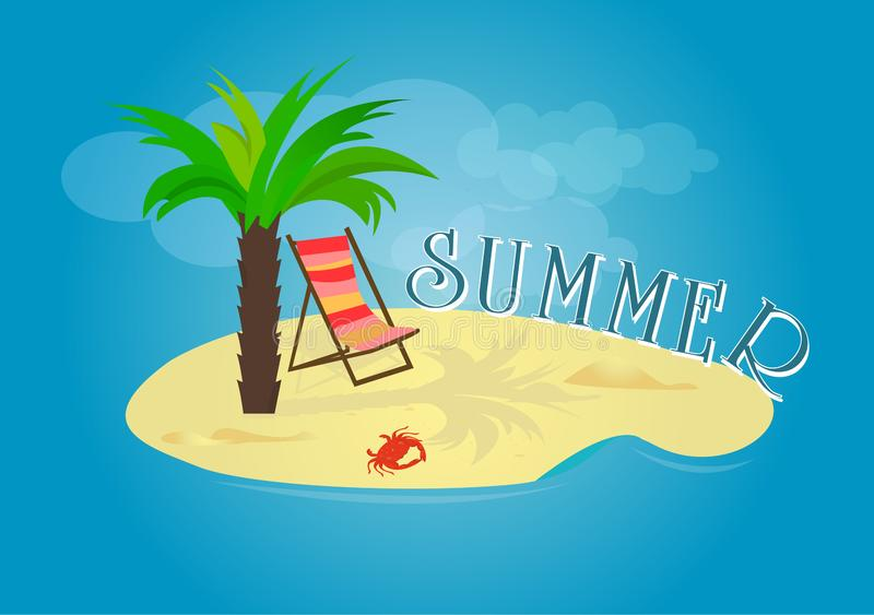Summer time vector banner design with palm and beach cheir Vector illustration. royalty free illustration