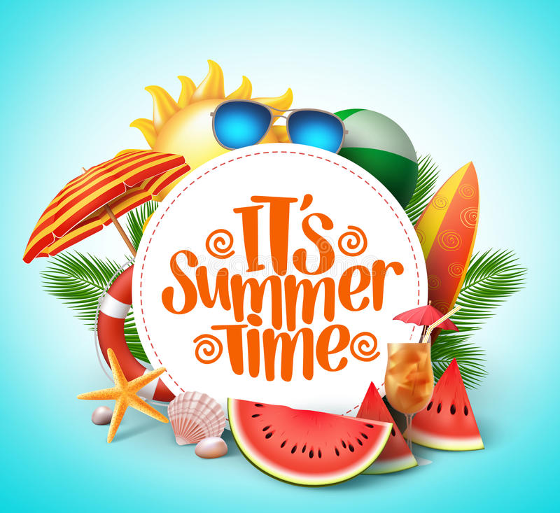 Summer time vector banner design with white circle. For text and colorful beach elements in white background. Vector illustration royalty free illustration