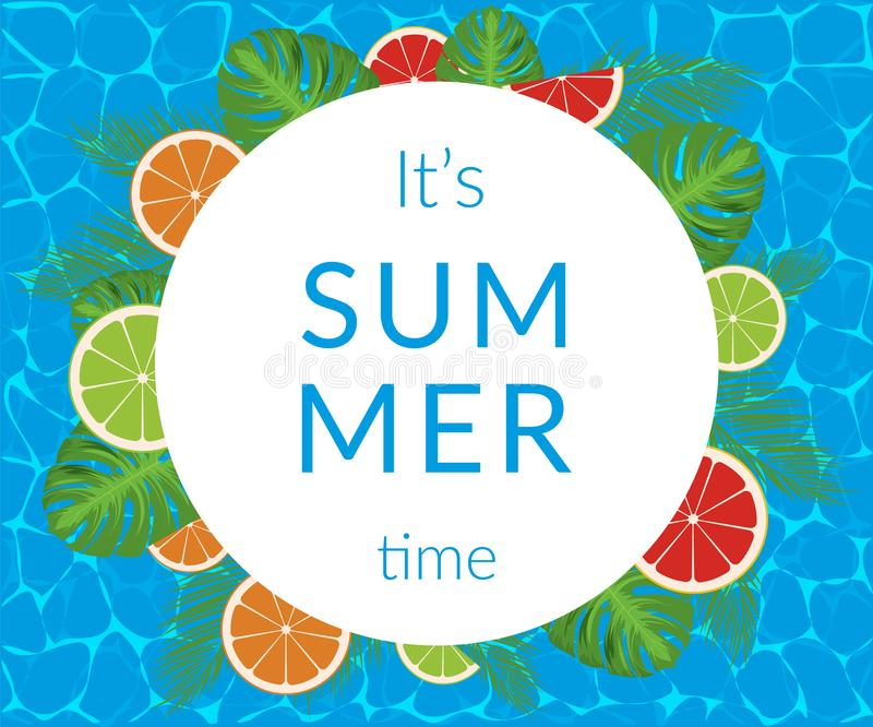 Summer time vector banner design with white circle for text and colorful elements vector illustration