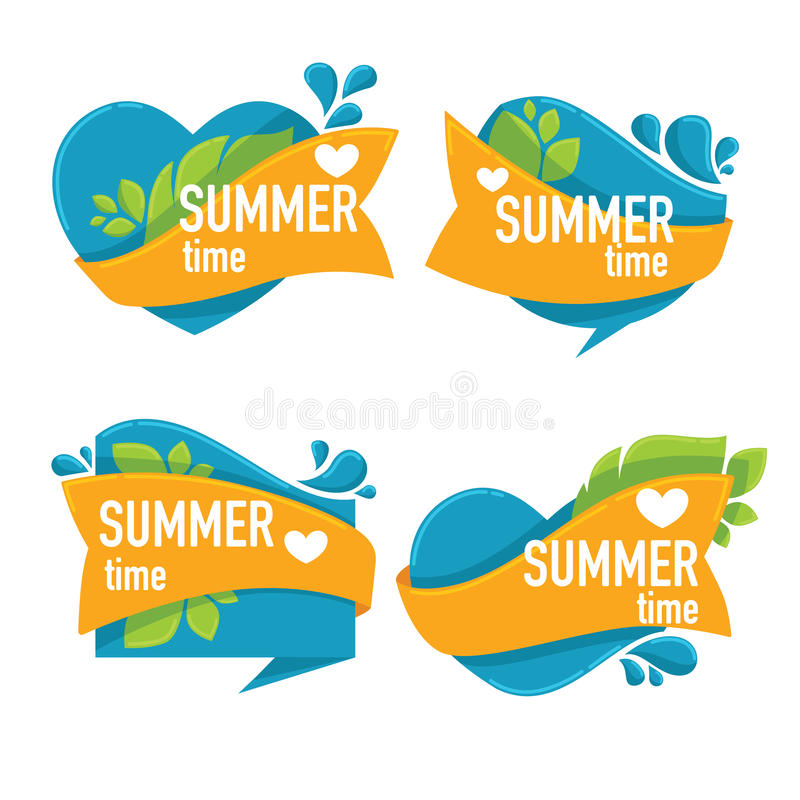 Summer time. Vector collection of sea water stickers, tags and emblems vector illustration
