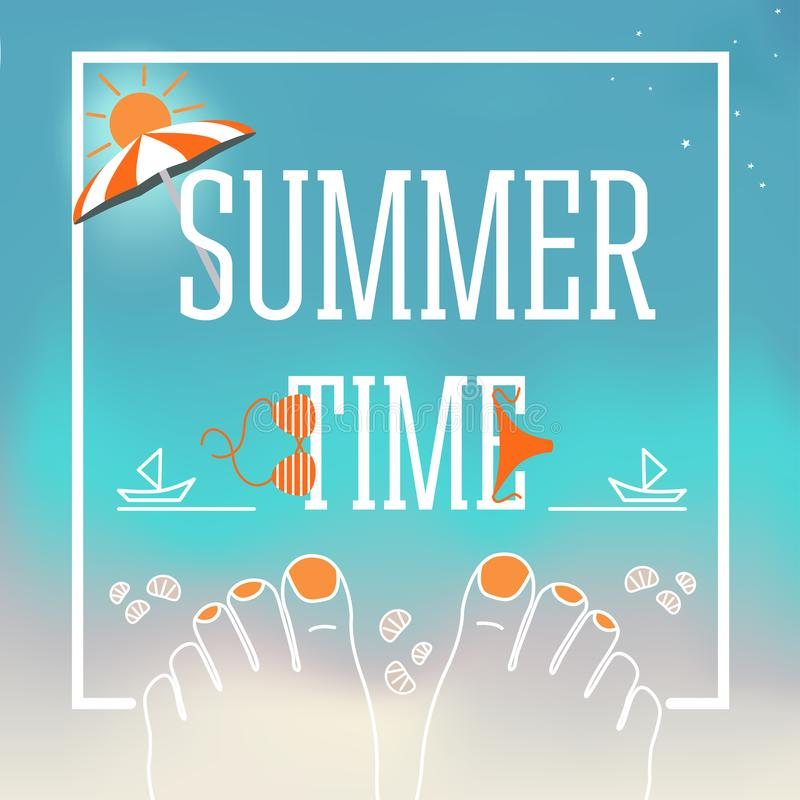 Summer time vector design banner with Illustration of feet with nails, shells, swimsuit, parasol, sand, the stock illustration