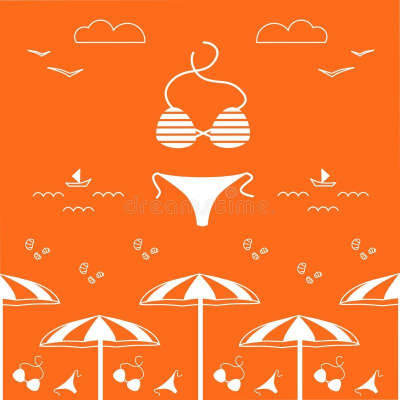 Summer time vector design square banner, seamless pattern, website cover. stock illustration