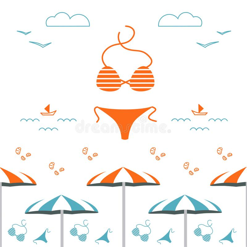 Summer time vector design square banner, seamless pattern, website cover. royalty free illustration