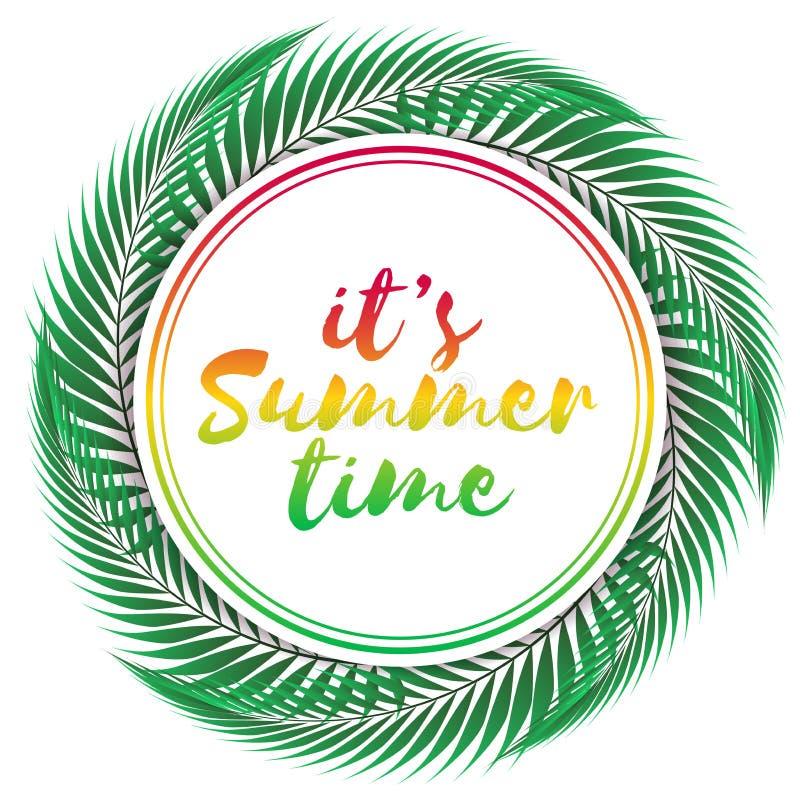 Summer time vector design on white background. Vector colored illustration. vector illustration