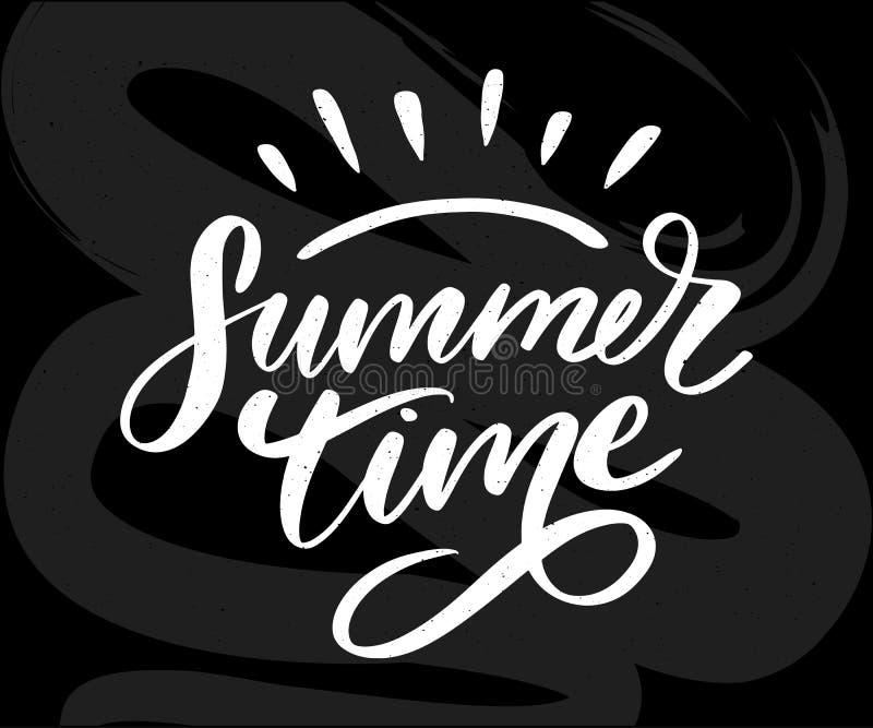 Summer time vector text lettering calligraphy letters black slogan Sales Holiday Flyer Banner Poster. Summer time vector text lettering calligraphy letters black stock illustration