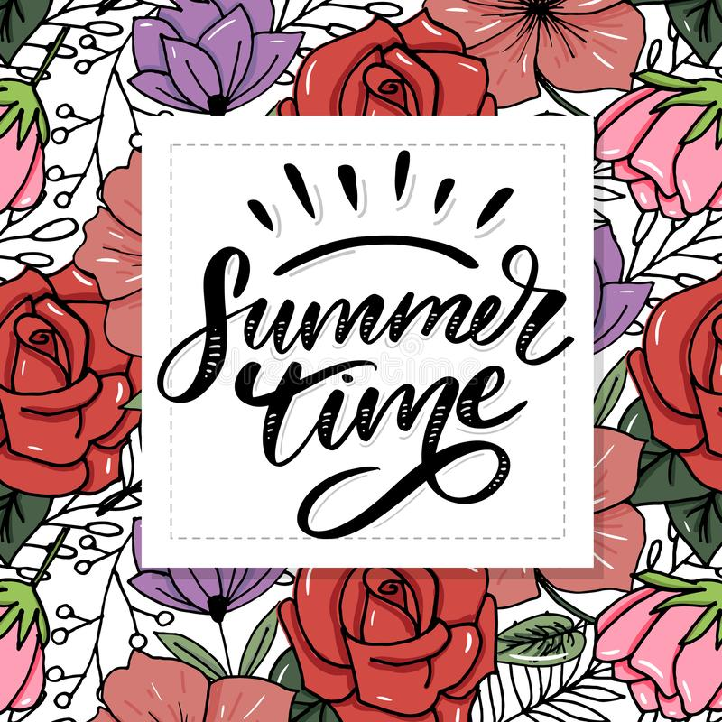Summer time vector text lettering calligraphy letters black slogan Sales Holiday Flyer Banner Poster. Summer time vector text lettering calligraphy letters black vector illustration