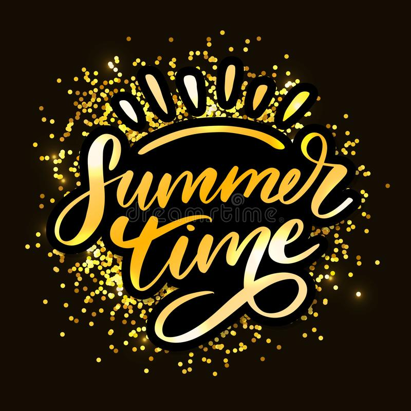 Summer time vector text lettering calligraphy letters black slogan Sales Holiday Flyer Banner Poster. Summer time vector text lettering calligraphy letters black royalty free illustration