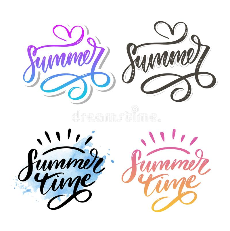 Summer time vector text lettering calligraphy letters black slogan Sales Holiday Flyer Banner Poster. Summer time vector text lettering calligraphy letters black royalty free stock image