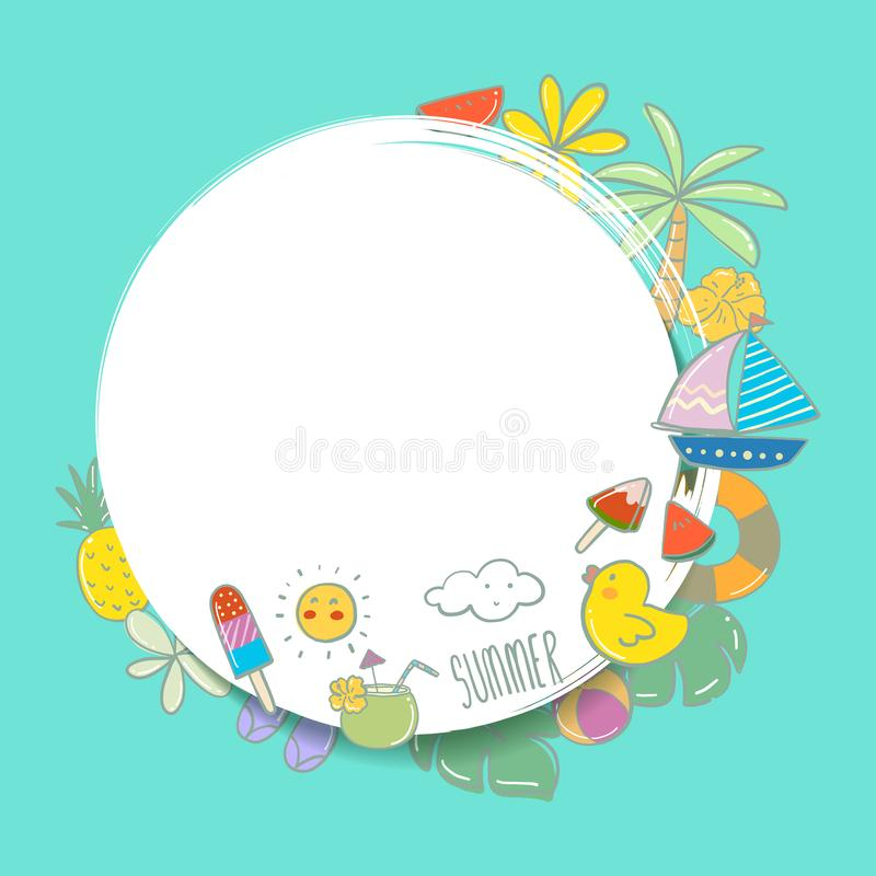 Summer time with white circle for text and colorful beach elements in white background royalty free illustration