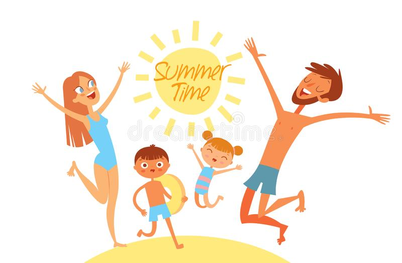 Summer time. Young family on vacation. Have fun jumping on sea beach. Flat style. Funny cartoon character. Vector illustration stock illustration