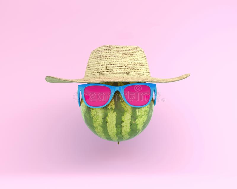 Summer times of funny attractive watermelon in stylish sunglasses with hat on pink background. minimal fruit concept. Creative id royalty free stock photos