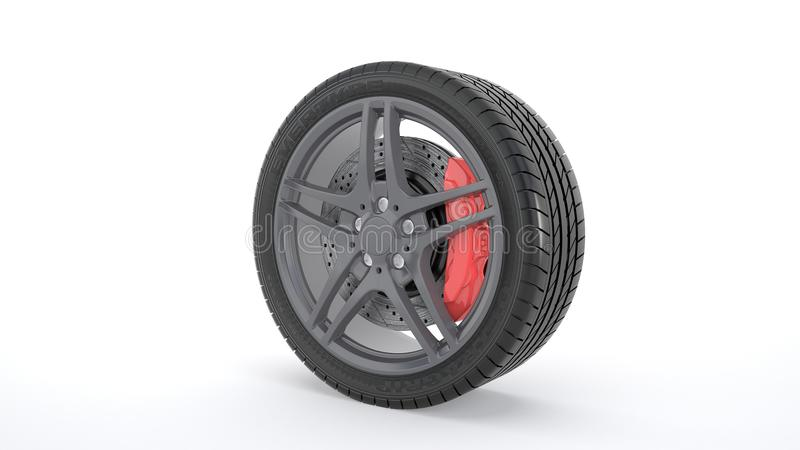 Summer tires. Computer rendered summer tires and rims with red brakes stock illustration