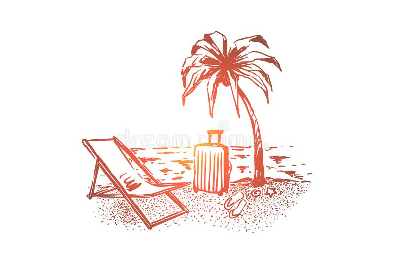 Summer tourism, holiday vacation, palm tree on sunny beach, bag, chaise lounge and slipper on sea shore vector illustration