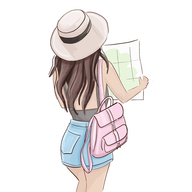 Summer tourist illustration. Vector traveller girl holding map. Glamour fashion magazine sketch, woman in shorts and hat. With pink backpack . Weekend adventure vector illustration