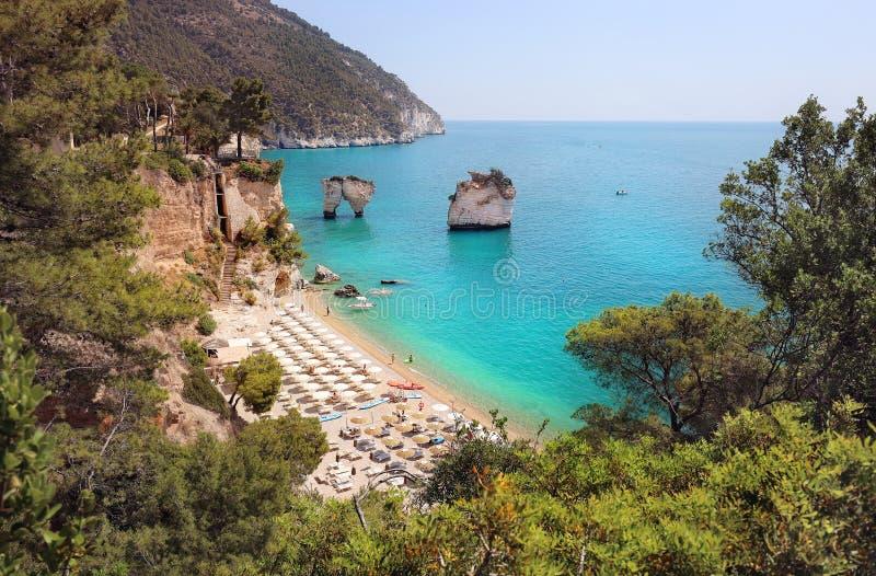 Summer touristic destination in Puglia, Italy: Faraglioni di Puglia Baia delle Zagare. Travel Italy. Summer touristic destination in Puglia, Italy: Faraglioni di royalty free stock photo