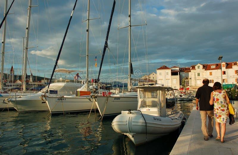 Summer tourists in Trogir, Croatia stock photography