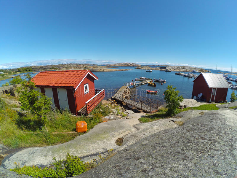 Summer town. Seascape taken in norway stock photo