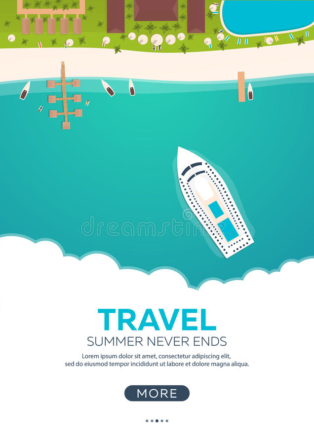Summer travel banner. Sea travel. Summer time. Hello Summer. Cruise to paradise. Beach, sea and ship. vector illustration