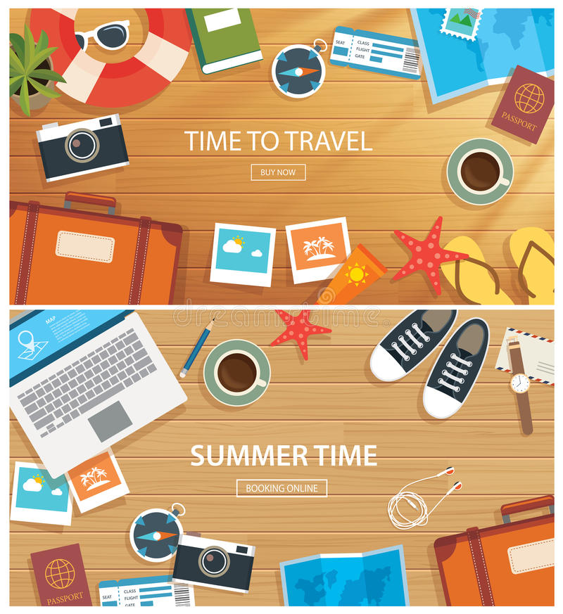 Summer and travel banner template. Summer and travel flat banner template royalty free illustration