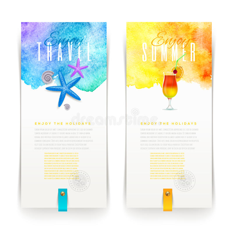 Summer and travel banners. Summer and travel watercolor banners