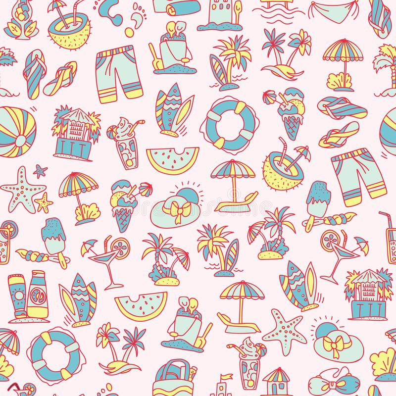 Summer, travel and beach sketch seamless pattern in black and white colors. Travelling hand draw elements with stock illustration