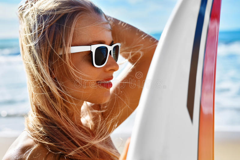 Summer Travel Beach Vacation. Happy Woman With Surfboard. Summer stock photos