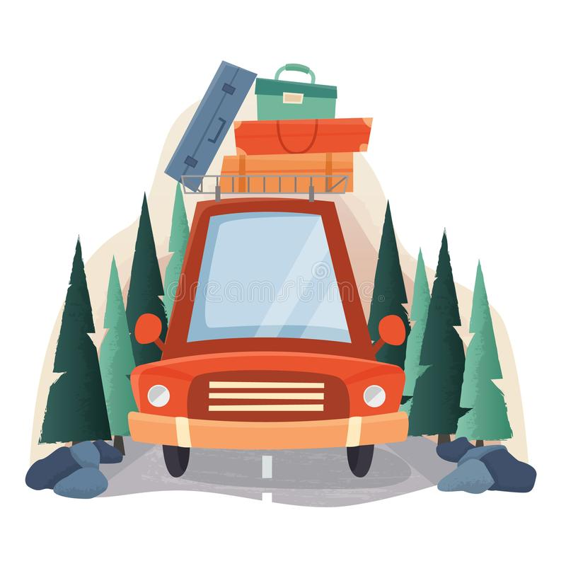 Summer travel car with suitcases, road and forest trees. stock illustration