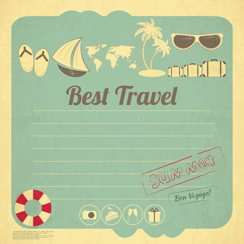 Summer Travel Card In Retro Style Stock Photo - Image ...