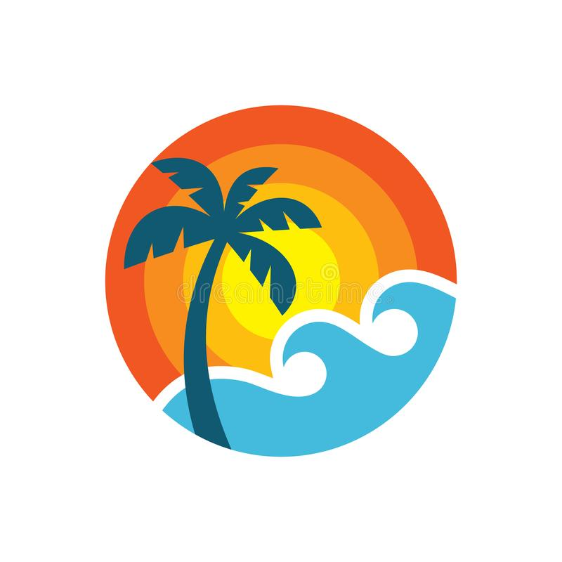 Summer travel - concept business logo template vector illustration. Tropical paradise vacation creative icon sign in flat design vector illustration