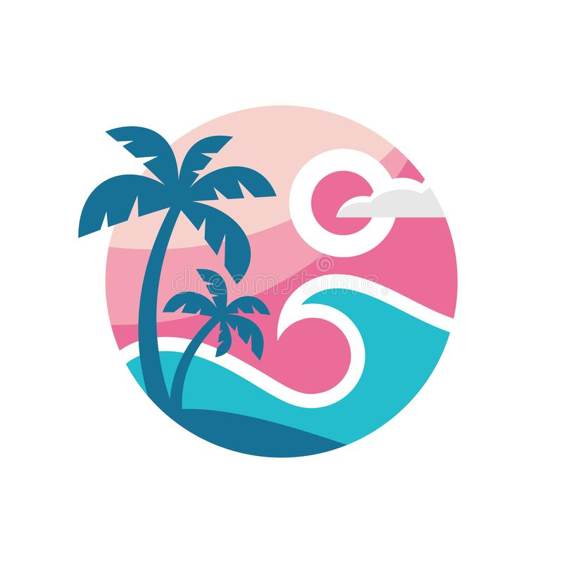 Summer travel - concept business logo template vector illustration. Tropical paradise vacation creative icon sign in flat design. Style. T-shirt badge. Palm stock illustration