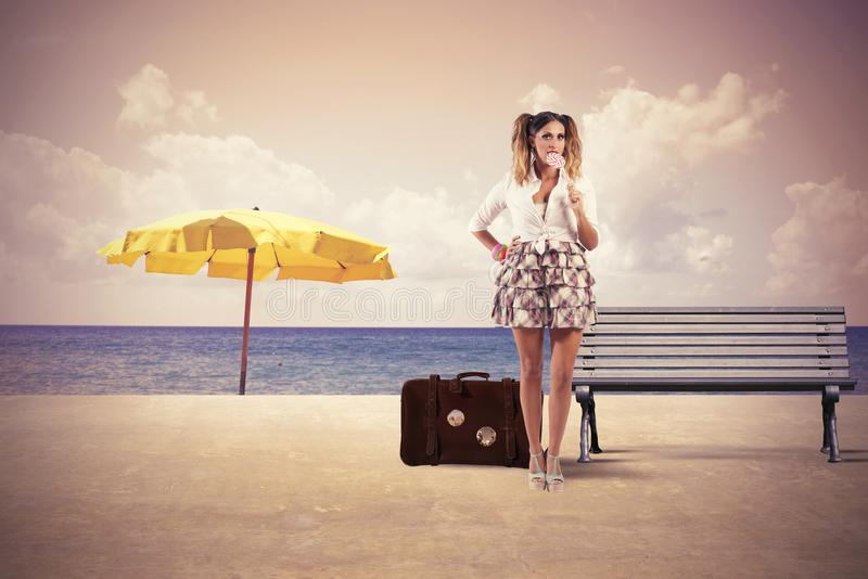 Summer travel. Concept of girl ready to travel in summer stock photos