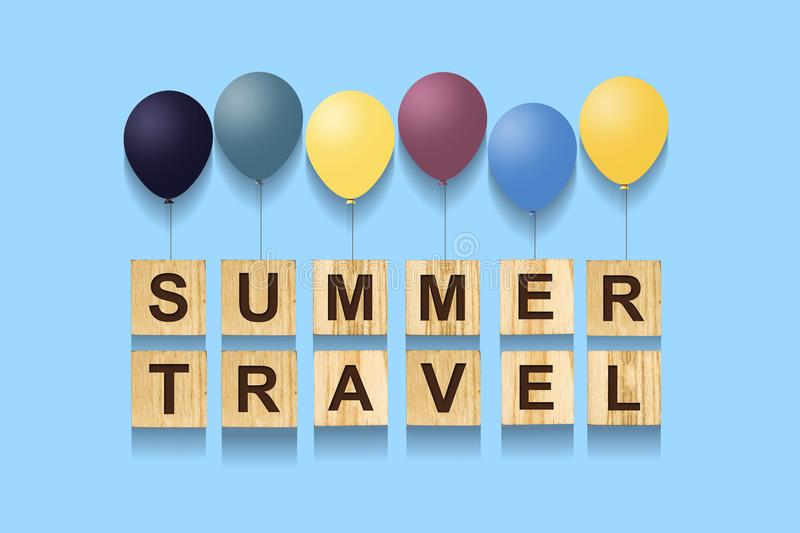 Summer Travel. Concept with words on wooden cubes and inflatable balls. Blue background. vector illustration