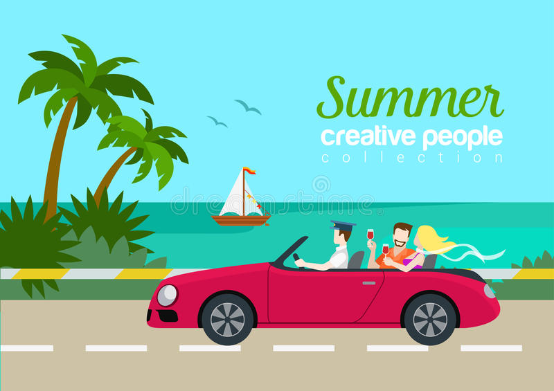 Summer travel couple cabrio car flat web infographic concept. Vacation vector postcard template. Beautiful woman man drink wine backseat driving seashore island royalty free illustration