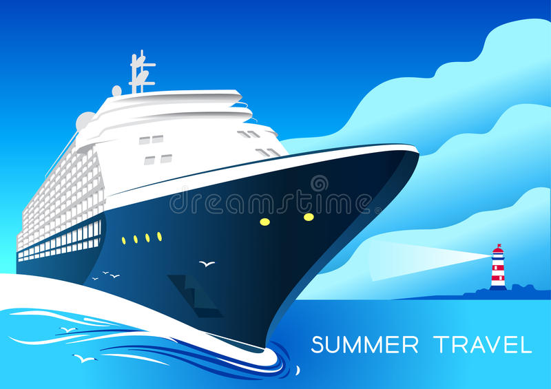 Summer travel cruise ship. Vintage art deco poster illustration. vector illustration