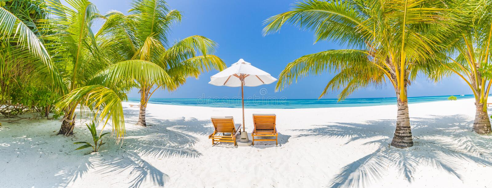 Summer travel destination background panorama. Tropical beach scene royalty free stock photography