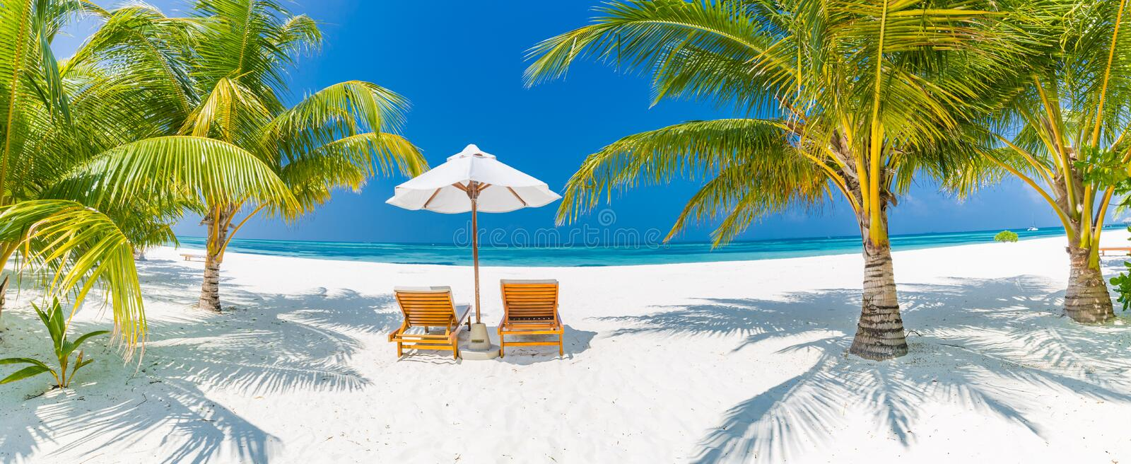 Summer travel destination background panorama. Tropical beach scene. Summer travel destination. Design of summer vacation holiday concept. Perfect tranquil beach stock photo
