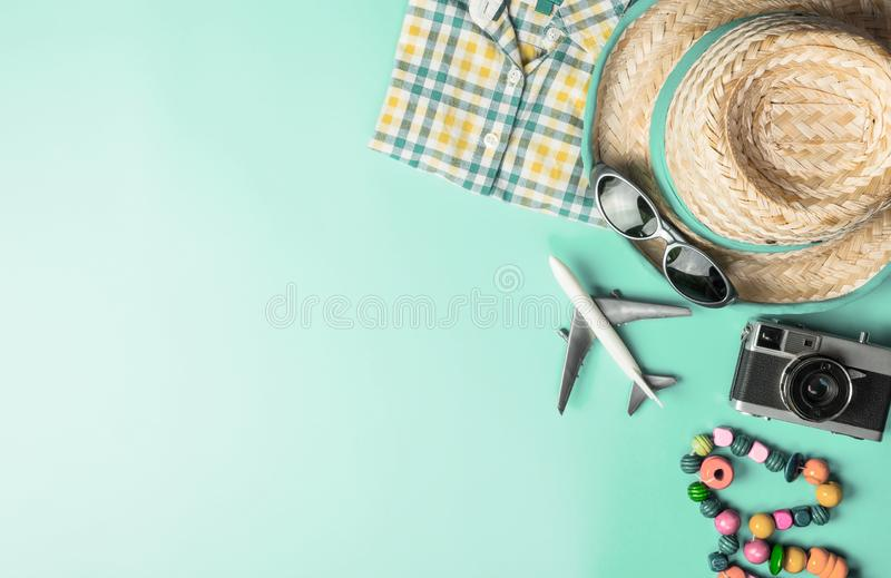 Summer travel fashion accessories travel top view flatlay on blue teal pastel. Summer travel fashion and accessories travel top view flatlay on blue teal pastel royalty free stock image