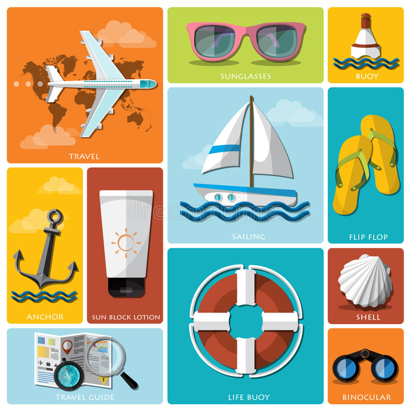Summer And Travel Flat Icon Set. Design Template stock illustration