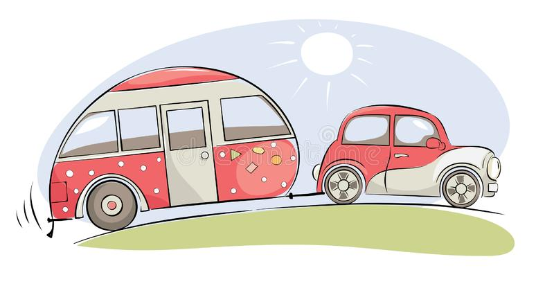 Summer travel in a house on wheels vector illustration