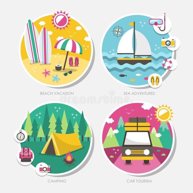 Summer travel icons set in flat design stock illustration