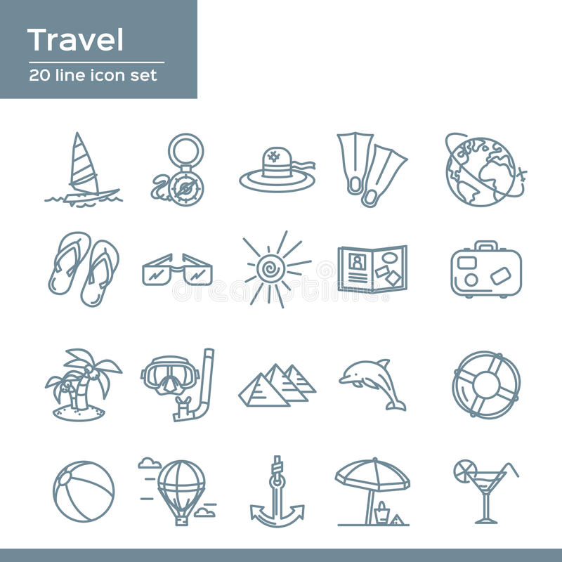 Summer travel 20 line icons set. Vector icon graphic for Beach Vacation: compass, sailboat, hat, flippers, earth, flip flops royalty free illustration