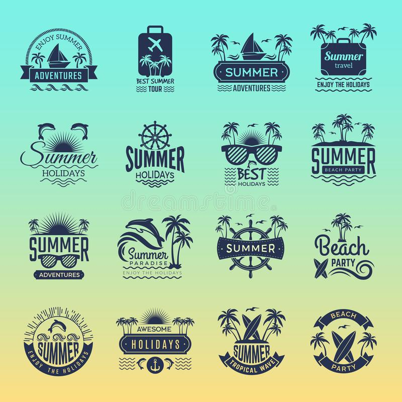 Summer travel logos. Retro tropical vacation badges and symbols palm tree drinks beach tour on island vector pictures. Collection. Illustration of summer royalty free illustration