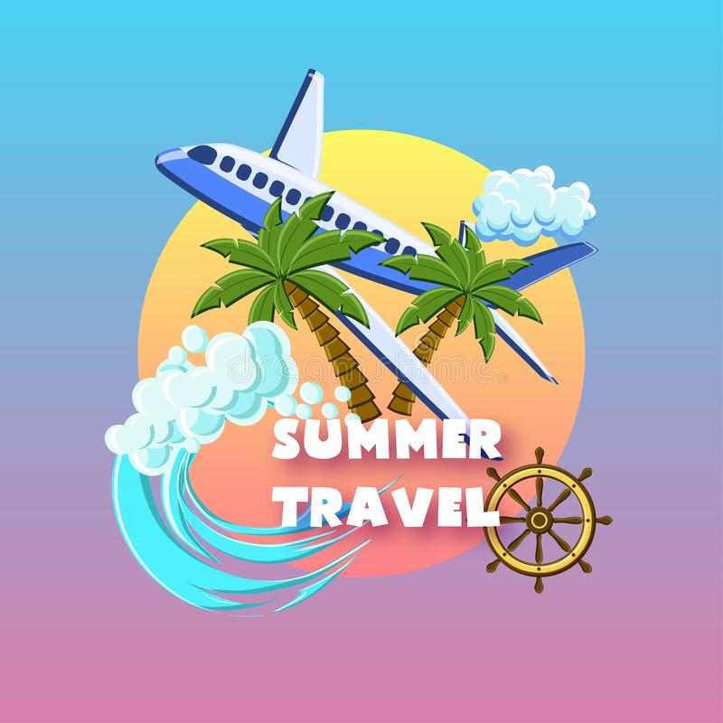 Summer travel poster with palm trees, airplane, ocean waves, ship wheel, cloud on the sunset sky. stock illustration