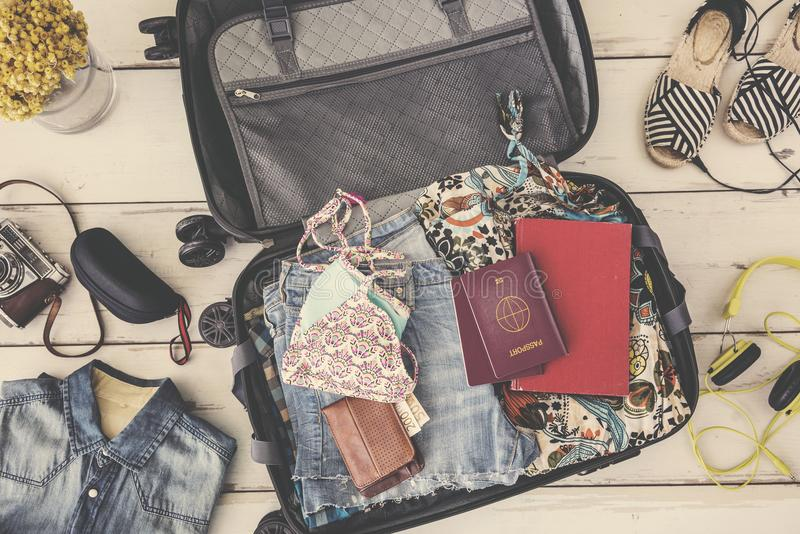 Summer travel preparation concept high angle view stock photo