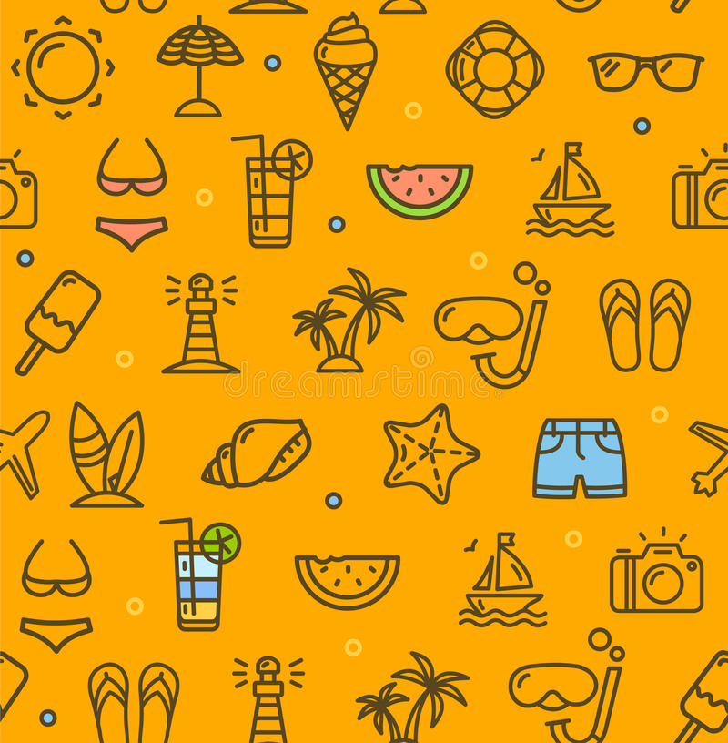 Summer Travel Recreation Holiday Pattern Background. Vector. Summer Travel Recreation Holiday Pattern Background on a Yellow witch Outline Icons Symbol of royalty free illustration