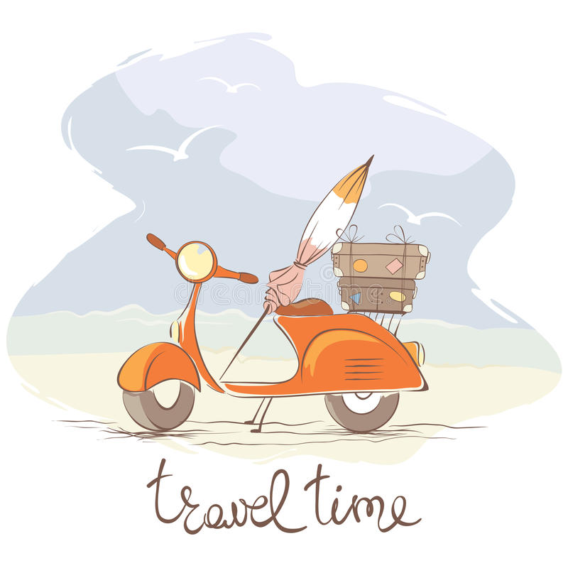 Summer travel on a scooter royalty free illustration