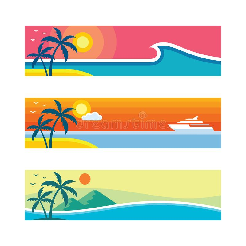 Flat Travel Posters Set Stock Vector. Illustration Of
