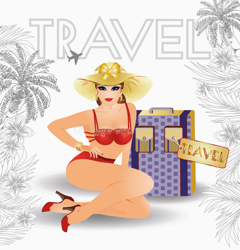 Summer travel sexual pin up young girl stock illustration